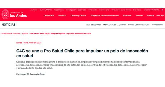 Universidad de Los Andes destaca participación de C4C en Pro Salud Chile