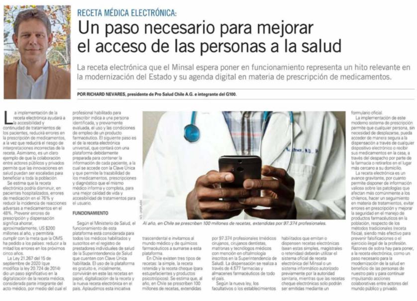 Receta médica electrónica: Un paso necesario para mejorar el acceso de las personas a la salud