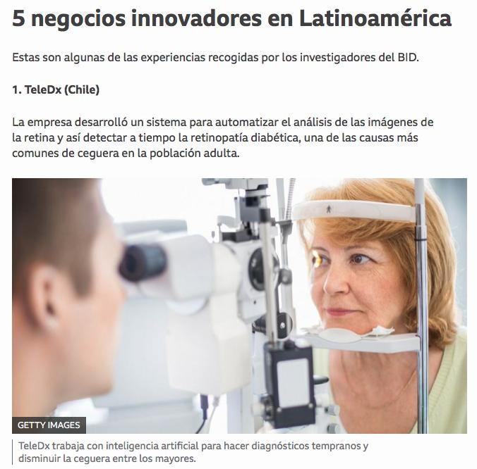 TeleDX es reconocida en BBC News Mundo entre los cinco negocios innovadores en Latinoamérica de acuerdo a investigadores del BID