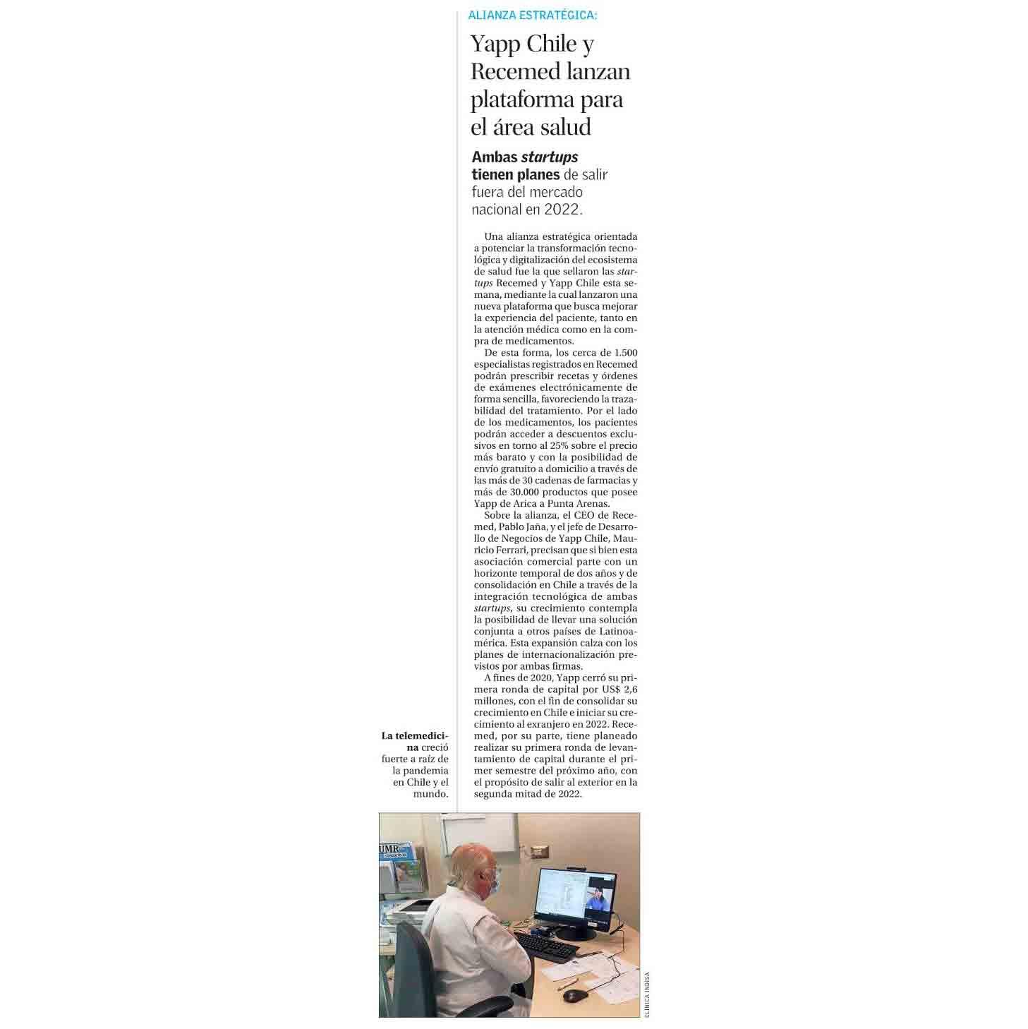 Yapp Chile y Recemed lanzan plataforma para el área salud