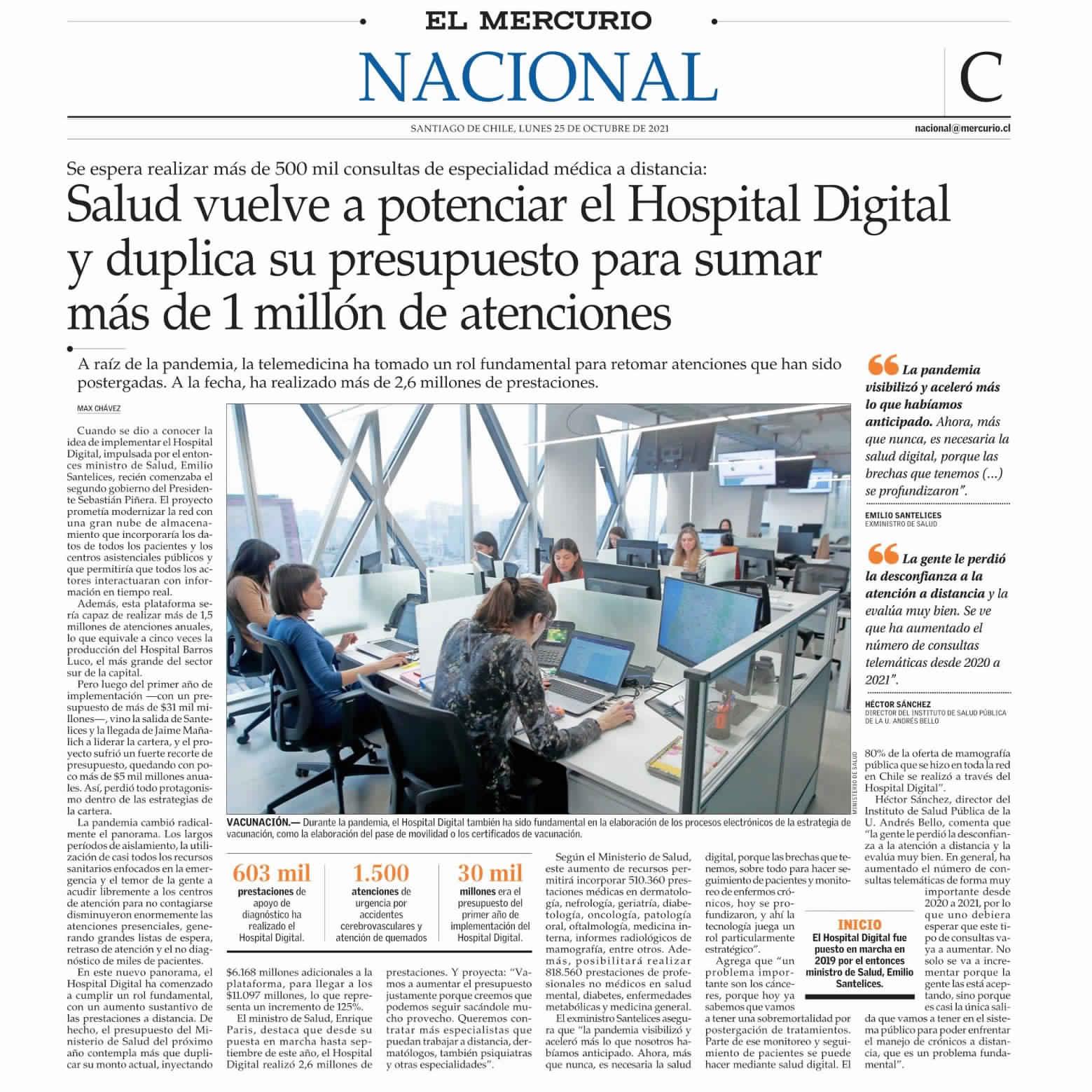Salud vuelve a potenciar el Hospital Digital y duplica su presupuesto para sumar más de 1 millón de atenciones